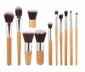 Aivtalk 11pcs Professional Wooden Handle Cosmetic Makeup Brushes Set Kit Powder Foundation Tool with Makeup Bag
