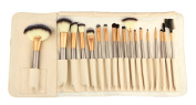 Aivtalk 18pcs Professional Wooden Handle Cosmetic Makeup Brushes Set Kit Powder Foundation Tool with Makeup Bag