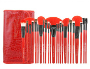 Aivtalk 24pcs Professional Cosmetic Makeup Brush Set Kit Brushes & Tools with Make Up Bag Case - Red