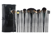 Aivtalk 24pcs Professional Wooden Handle Cosmetic Makeup Brush Set Kit Brushes & Tools with Make Up Bag Case - Black