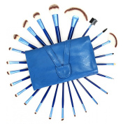 Aivtalk 24pcs Professional Wooden Handle Cosmetic Makeup Brush Set Kit Brushes & Tools with Make Up Bag Case - Blue