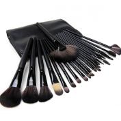 Millya 24Pcs Wool Handle Makeup Brush Foundation Blending Blush Concealer Eyeliner Face Powder Cream Brush Cosmetics Brushes Kit with Case Black