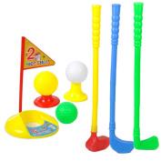 Kids Outdoor Summer Garden Small Plastic Caddy Golf Toy Set 3 Clubs+3 Balls