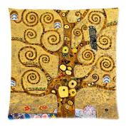 Custom Cotton & Polyester SoSquare ft Zippered Cushion Throw Case Pillow Case Cover 18X18 (Twin Sides) - Symbolon Painter Artist Gustav Klimt Painting