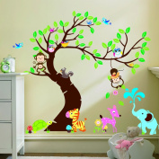 Nursery Room Owl Monkey Animal Zoo Jungle Wall Decals Wall Stickers