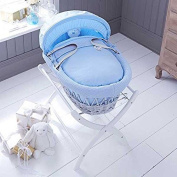 Izziwotnot Powder Blue Gift Wicker Moses Basket, Soft Grey