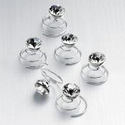 New Ladies X6 Bridal Crystal Metal Swirl Hair Pins Uk
