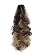 43cm PONYTAIL Clip in Hair Piece CURLY Dark Brown/Blonde Mix #4/613 REVERSIBLE Claw Clip 220g