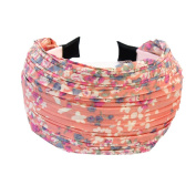 New Wide Pleated Pink Alice Hair Band Headband Printed for Wedding Party Prom