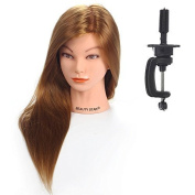 Konmison Hairdressing 50cm 50% Real Human Long Hair Hairdressing Cosmetology Mannequin Manikin Training Training Head With Clamp Stand