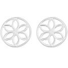 Ornami Sterling Silver Pierced Out Flower Disc Stud Earrings