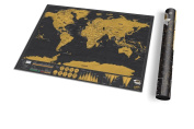 Luckies of London Travel Deluxe Scratch Map, Pack of 1, Black/Gold