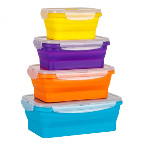Wowzr Flat Stacks Collapsible Silicone Food Storage