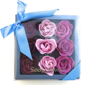 Charming Rose Scent Bath Bomb, Nine Colourful Rose Flower with Premium Gift Box. Dirk Purple+maiden Purple+purple