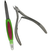 EYX Formula Half Jaw Stainless Stell Nail Cliiper Cuticle Cutter Nipper with Pusher Set