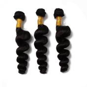 Meishanlian Brazilian Hair Weave Bundles 100% Human Hair Extension Brazilian Loose Wave Virgin Hair 3 Bundles Total 300 Grammes One Pack