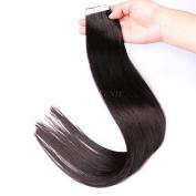 Queenie 20pcs Per Pack European Human Hair Silky Straight Tape In Skin Weft Human Hair Extension 18inch #1b