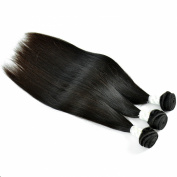 SIADEE® 8-80cm 6A Grade Brazilian Virgin Human Hair Extensions Silky Straight Hair, Pack of 3, 100g/bundle, Natural Colour Hair Wefts