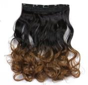 SARLA 60cm 50cm 5Clips One Piece 2 Tones Ombre Colour Clip in Hair Extension 130g