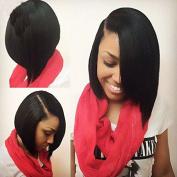 25cm 7A Grade Silk Straight Brazilian Virgin Hair Lace Front Wigs Short Bob Human Hair Wigs Natural Colour