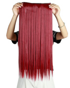S-noilite® 26 Inches(66cm) Long Straight Maroon Mix Dark Red 3/4 Full Head One Piece 5 Clips Clip in Hair Extensions Sexy Lady Fashion Choice Quality Guarantee
