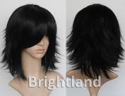 Flyingdragon Flip Out Black Sexy Fashion Layered Short Medium Straight Cosplay Wig