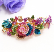 Multi colour rhinestone rose flowers hair jewellery Hair barrette clip for lady