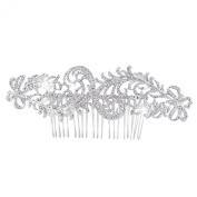 EVER FAITH Wedding Dual Peacock Feather Hair Comb Clear Austrian Crystal Silver-Tone
