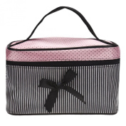 Kingfansion Square Bow Stripe Cosmetic Bag