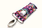 Lip Balm Holder, Chapstick Holder Keychain Clip, Pink Aztec Tribal