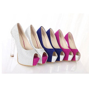Fashion Lady Wide High Heel Shoes Yuzui Crystal Single Shoes Sandals Blue US5 strapless Shoes