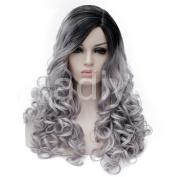 Kadiya American European Lady Hair Two Tone Silver Grey Black Water Wave Curls Fashion Wig 60cm