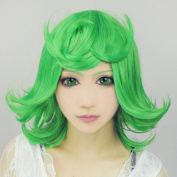 Cf-fashion ONE Punch-man Tatsumaki Short Green Cosplay Costume Wig