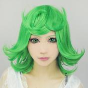 Cf-fashion ONE Punch-man Tatsumaki Short Green Cosplay Costume Wig