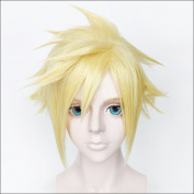 Cf-fashion Final Fantasy VII 7 Cloud Strife Short Golden Blonde Cosplay Hair Wig Halloween
