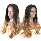 Platinumhair Synthetic Lace Front Wig heavy density 100%Heat Resistant Ombre Wavy Wig for Black Women 60cm