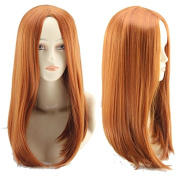 Simpleyourstyle Anime Cosplay Wigs Centre Part Orange Long Straight Wigs for women