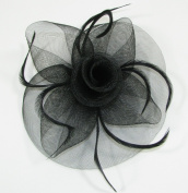 Inca Jewellery Mesh And Feather Fascinator Wedding Party Prom Large Black