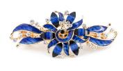 YESHINE Rhinestone Decor Metal Peacock Design French Hair Clip Barrette for Women,Blue