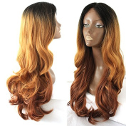 Platinumhair Synthetic Lace Front Wig Heat Resistant Ombre Wavy Wig for Black Women 60cm