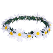 Valdler Elegant Fresh Daisy Flower Leaves Wreath Floral Crown Headband Halo for Woodland Wedding Festivals Party Prom and Daily Wear