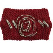 Wiipu Chunky Crochet Rhinestone Flower Knitted Headband