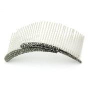 DoubleAccent Hair Jewellery Flashes of Simulated Crystal on a Large Hair Bridal Comb, Black