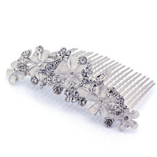 DoubleAccent Hair Jewellery Floral Simulated Crystal Butterfly Hair Comb, White