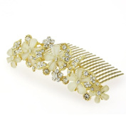 DoubleAccent Hair Jewellery Floral Simulated Crystal Butterfly Hair Comb, Light Brown