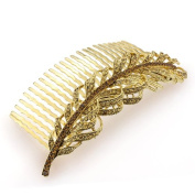 DoubleAccent Hair Jewellery Golden Simulated Crystal Fallen Feather , Light Brown