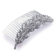 DoubleAccent Hair Jewellery Simulated Crystal Fallen Feather , White