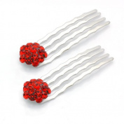 DoubleAccent Hair Jewellery Small Simulated Crystal Cluster Mini Bridal Hair Comb Set of Two, Red