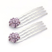 DoubleAccent Hair Jewellery Small Simulated Crystal Cluster Mini Bridal Hair Comb Set of Two, Puple