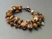 Handmade Wax Cord Chip Tiger Eye Knot Bracelet